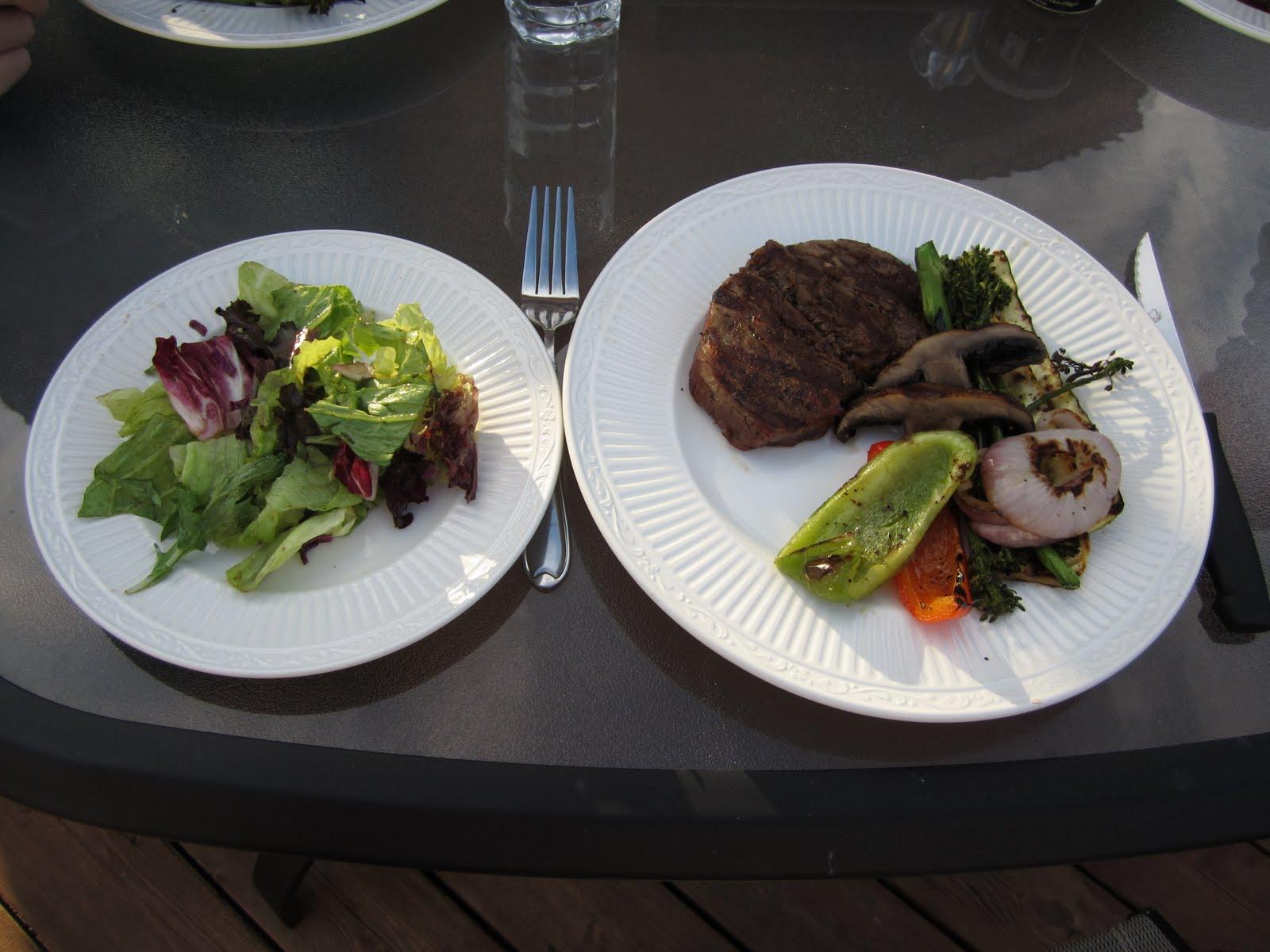 Grilled steak and grilled vegetables
