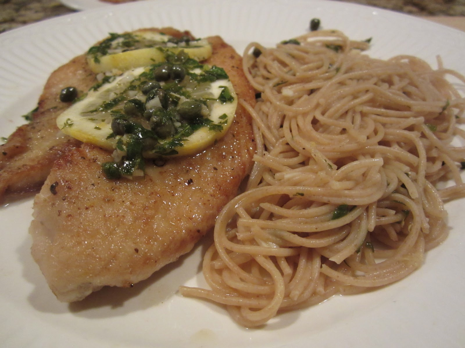 Piccata-style fish with pasta