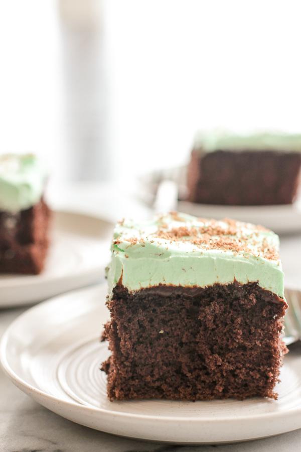 Photo of sliced Chocolate Creme de Menthe Cake