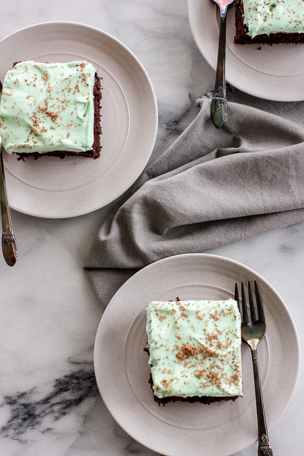 Overhead shot of slices of Chocolate Creme de Menthe Cake