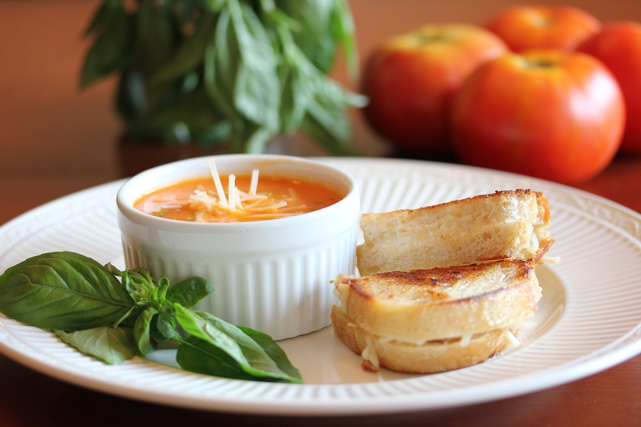 Spicy Tomato Basil Soup with  Gourmet Grilled Cheese And Tomato Soup