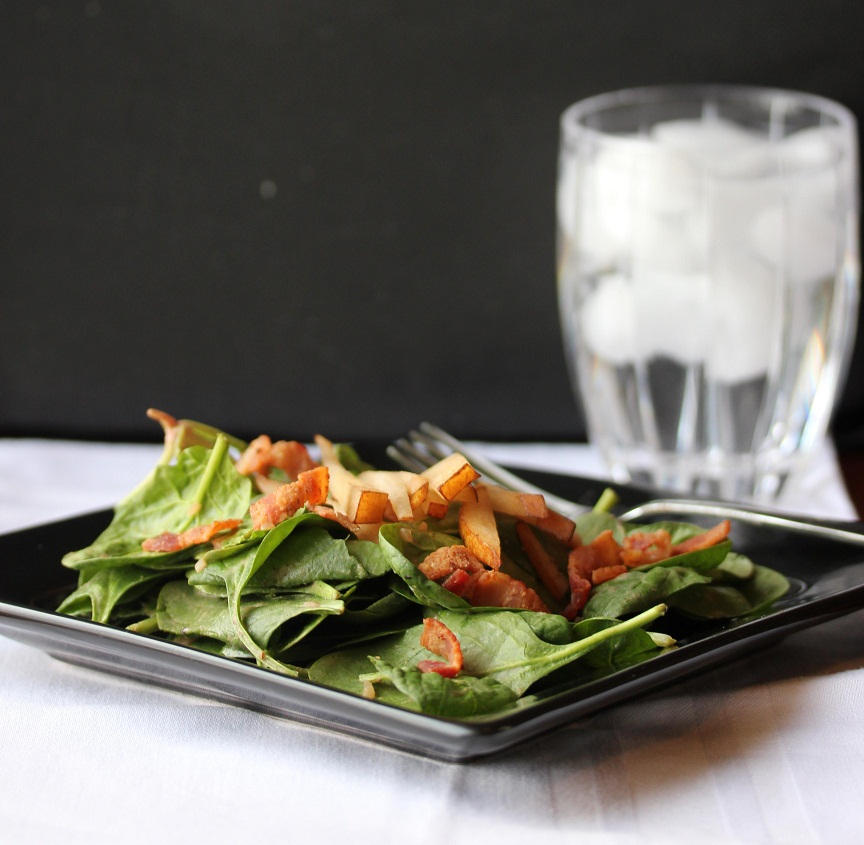 ... for Great Recipes! – Spinach and Pear Salad with Warm Bacon Dressing