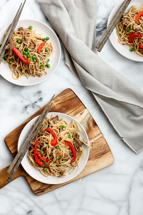 Plated Pork Lo Mein