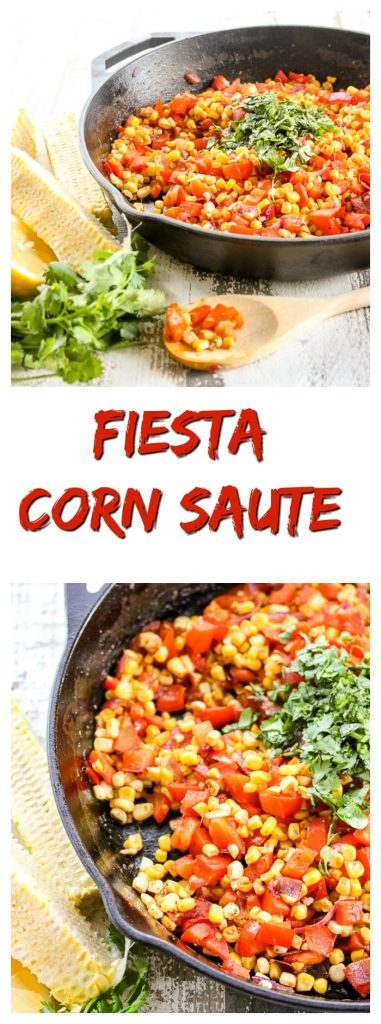 Fiesta Corn Saute it packs incredible flavor with sweetness from the corn, a hint of spice from chili powder and a smoky finish from smoked paprika.