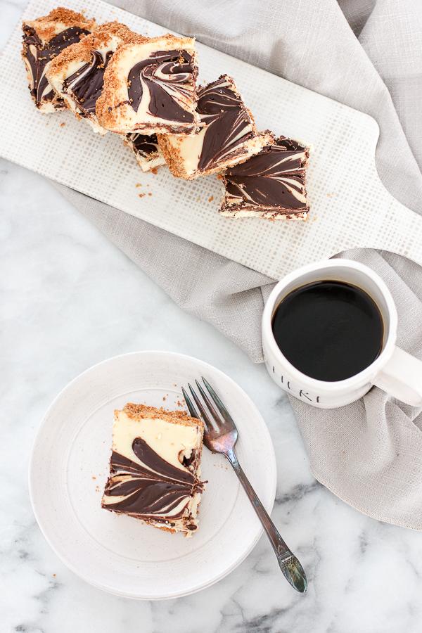 Overhead shot of Chocolate Swirl Cheesecake Bars