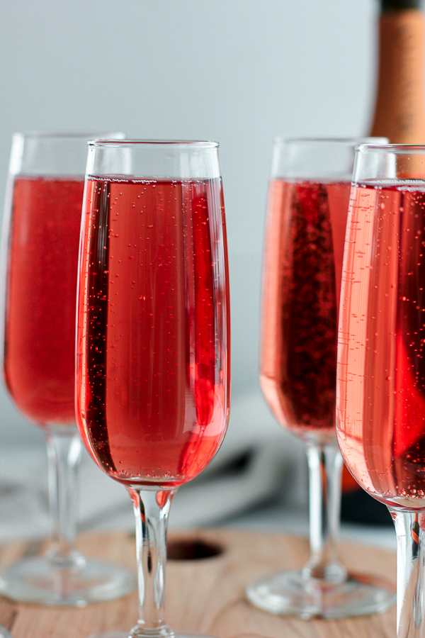 Cranberry-Raspberry Champagne Cocktails