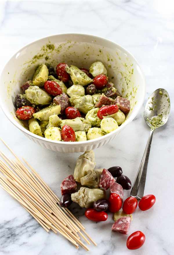 Easy antipasto skewers are a perfect party appetizer that can be made ahead of time and will disappear in minutes. | lisasdinnertimedish.com