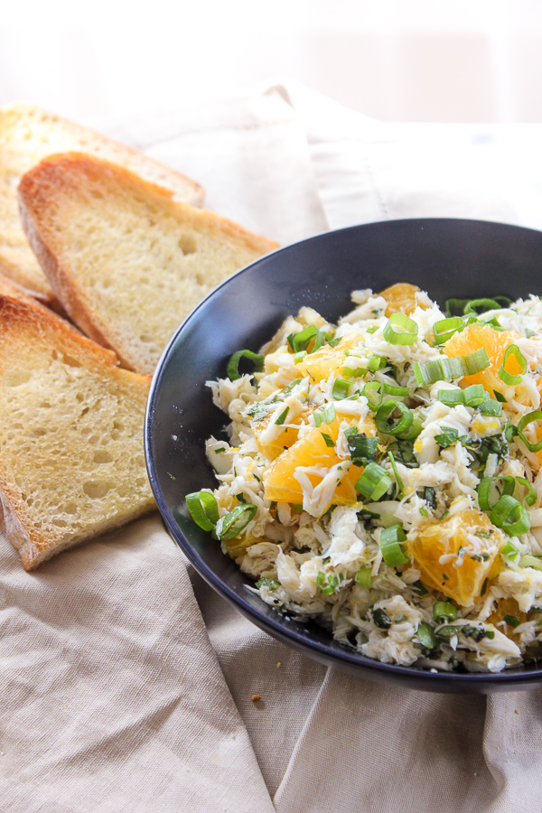 Citrus Crab Salad on Sourdough is a light, refreshing salad that's bursting with bright flavors. It's perfect for a light meal or served as an appetizer. | lisasdinnertimedish.com