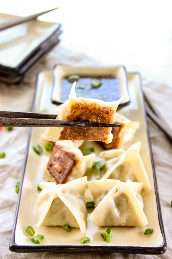 Pork Pot Stickers with Sesame Soy Dipping Sauce