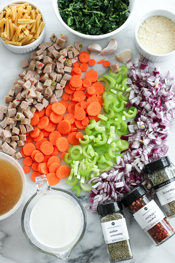 Photo of ingredients for Creamy Italian Chicken Sausage Soup