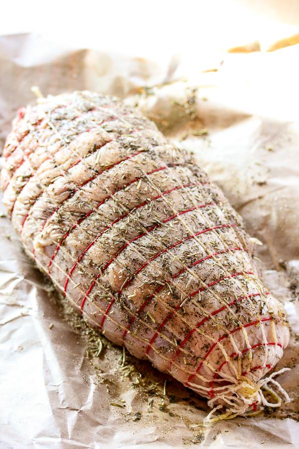 Boneless Turkey breast prepped for the grill