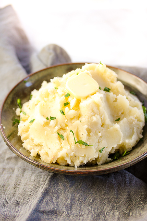 Ultimate Roasted Garlic Mashed Potatoes in a bowl