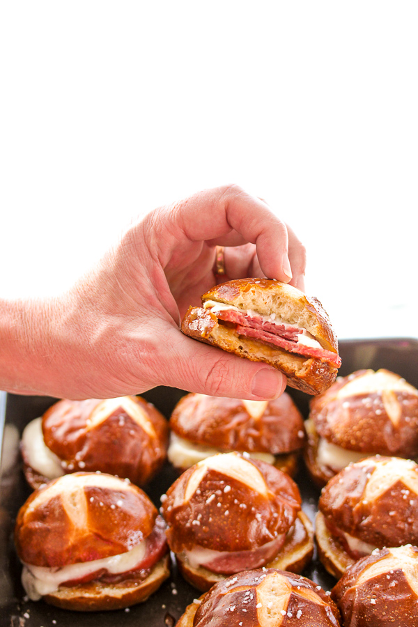 Garlic Summer Sausage Pretzel Bun Slider
