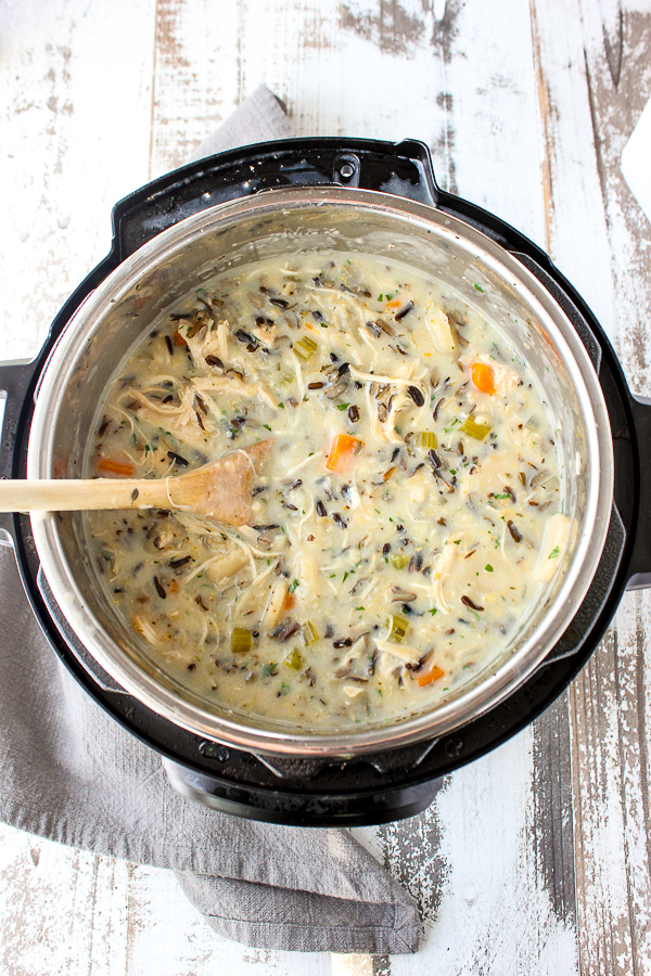 Easy Instant Pot Chicken Wild Rice Soup