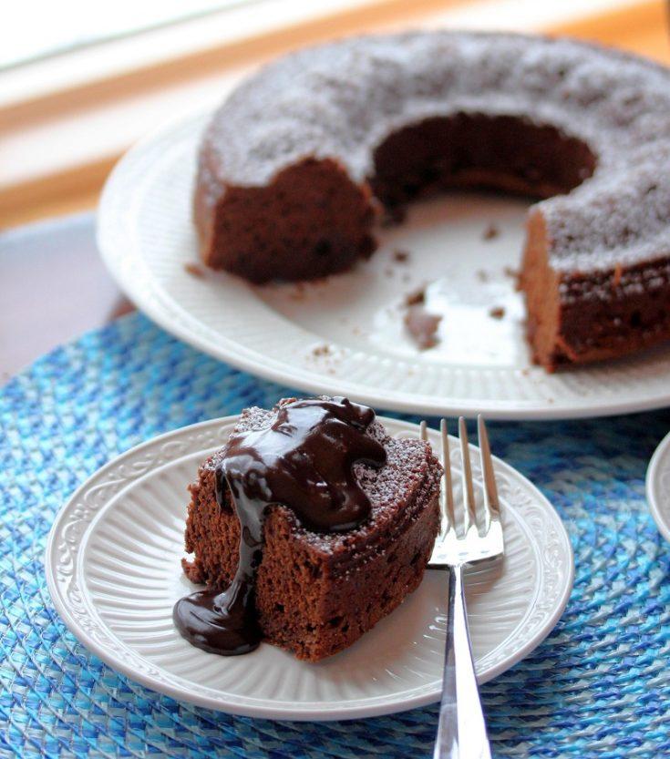 Chocolate Bundt Cake with Hot Fudge