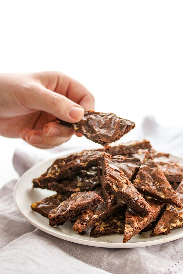 Salted Caramel Brownie Bark