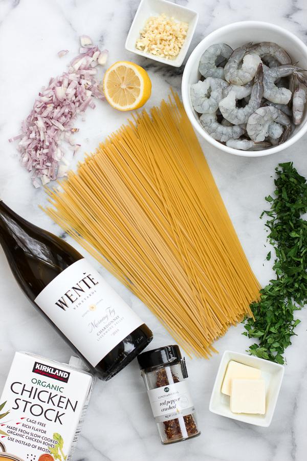 Ingredients for one pot shrimp scampi