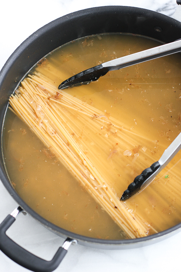 Pasta cooking in the pan