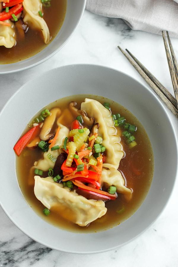 Overhead photo of Easy Chicken Wonton Soup