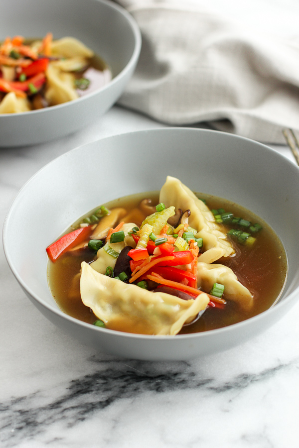 Finished shot of easy chicken wonton soup